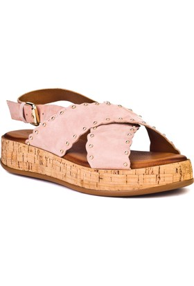 Cabani Capraz Bant Tokalı Günlük Kadın Sandalet Pembe DerI