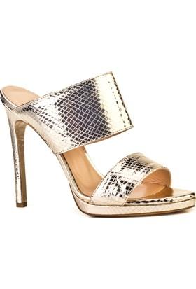 Cabani Kalın Bantlı Günlük Kadın Ayakkabı Altın Yılan