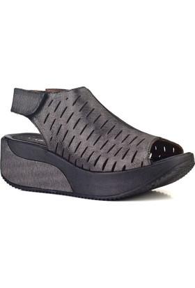 Cabani Lazerli Dolgu Topuklu Günlük Kadın Sandalet Antrasit