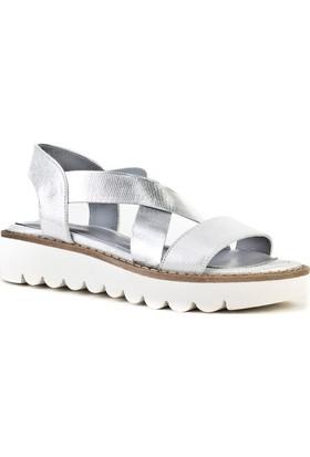 Cabani Streç Detaylı Günlük Kadın Sandalet Gümüş Saten