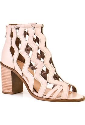 Cabani Topuklu Günlük Kadın Ayakkabı Pembe DerI