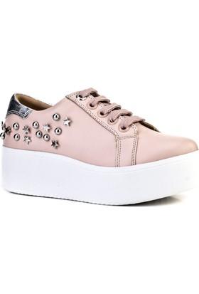Cabani Yüksek Taban Sneaker Kadın Ayakkabı Pembe DerI