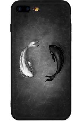 Vendas iPhone 6/6S Tai Chi Balıkları Resimli Silikon Kılıf - Siyah