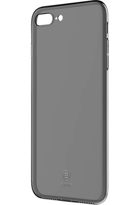 Baseus iPhone 8 Plus Simple Serisi Tıpalı Açık Siyah Silikon Kılıf + Ekran Koruyucu