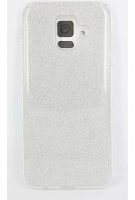 Case 4U Samsung Galaxy A6 2018 Kılıf Simli Silikon Kılıf Sert Arka Kapak - Shining - Gümüş Gri