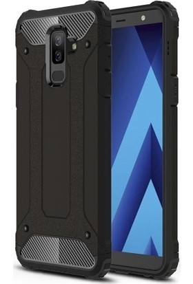 Case 4U Samsung Galaxy A6 Plus 2018 Kılıf Çift Katmanlı Tank Arka Kapak - Siyah