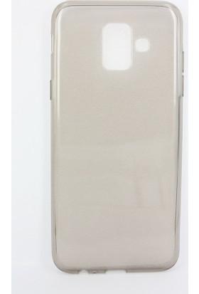 Case 4U Samsung Galaxy A6 2018 Kılıf Silikon Arka Kapak -Şeffaf - Füme ( Siyah )
