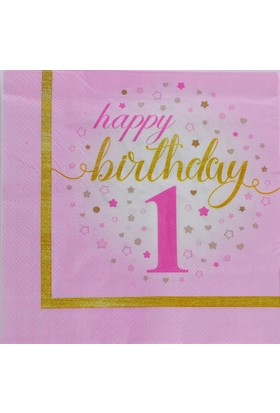 Tahtakale Toptancısı Kağıt Peçete 1 Yaş Happy Birthday Yıldızlı (20 Adet)