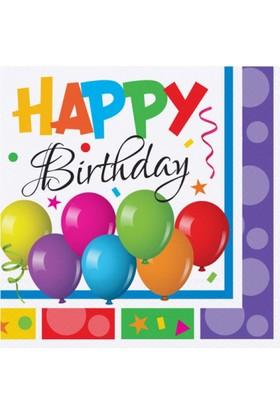 Tahtakale Toptancısı Kağıt Peçete Happy Birthday Multıcolour 33X33 (16 Adet)