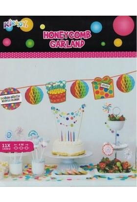 Partici Doğum Günü Temalı Renkli Asma Petek Süs