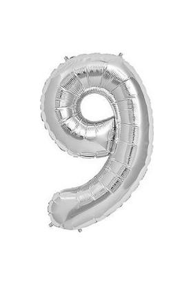 Partici 9 Rakam Folyo Balon Gümüş 40 cm