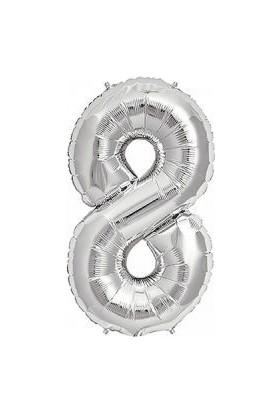 Partici 8 Rakam Folyo Balon Gümüş 40 cm
