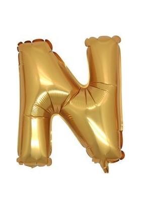 Partici N Harf Folyo Balon Altın 100 cm