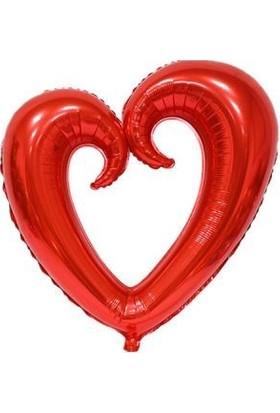 Partici Kıvrımlı Kırmızı Kalp Folyo Balon 80 x 80 cm