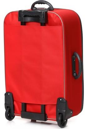 Cix 3'lü Kırmızı Kumaş Valiz Seti
