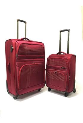 Baggaj Lux Kumaş Valiz Bordo 2'li Set (Kabin Büyük)