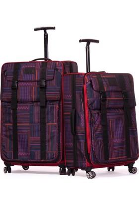 IT Luggage Büyük ve Orta Boy 2'li Kumaş Valiz Seti Kırmızı 1830