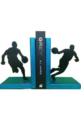 Mutlu Panda Basketbol Temalı Kitap Desteği Kitap Tutucu El Yapımı Ahşap