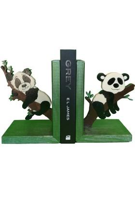Mutlu Panda Panda Temalı Kitap Desteği Kitap Tutucu El Yapımı Ahşap