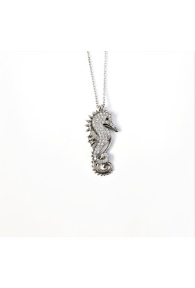 Tyelo Takı, 925 Ayar Gümüş, Zirkon Taşlı Deniz Atı Kolye