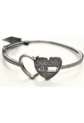 Tyelo Takı, 925 Ayar Gümüş, Taşlı Kalp Figürlü Kelepçe Bileklik