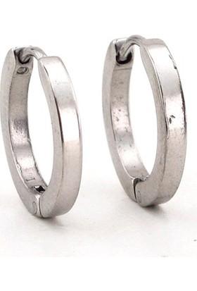 Solfera Gümüş Renkli 2Mm İnce Tasarım Çelik Halka Erkek Küpe E566