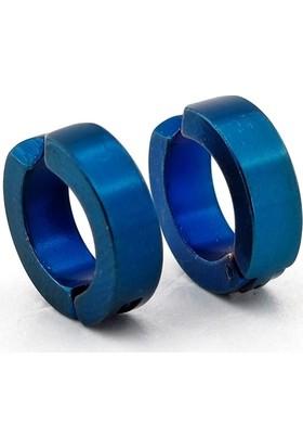 Solfera Kıskaçlı Mavi Paslanmaz Çelik Erkek Küpe Sıkıştırmalı E575