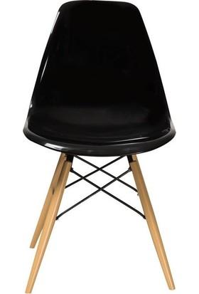 Moon Design Eames Ahşap Ayaklı Sandalye Siyah