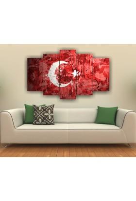 7Renk Dekor Türk Bayrağı Dekoratif 5 Parça Mdf Tablo
