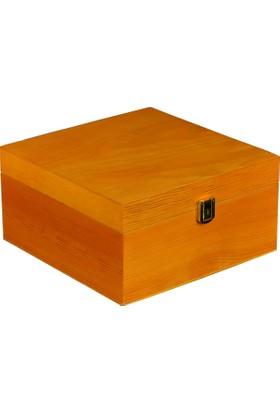 Promata Kapaklı Ahşap Kutu Kare Çam Malzeme Lüks Hediyelik Kutu