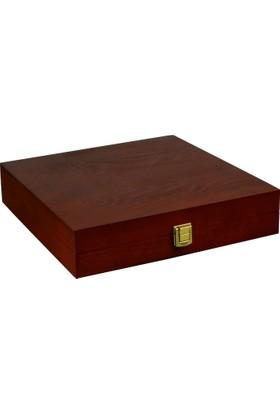 Promata Kapaklı Ahşap Kutu, Çam Malzeme Kare Koyu Kahverengi Hediyelik Kutusu