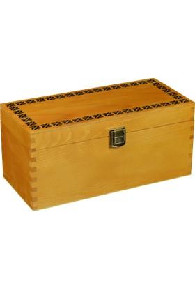 Promata Ahşap Kutu, Kapaklı Klipsli Çam Malzeme Lüks Hediyelik Kutusu
