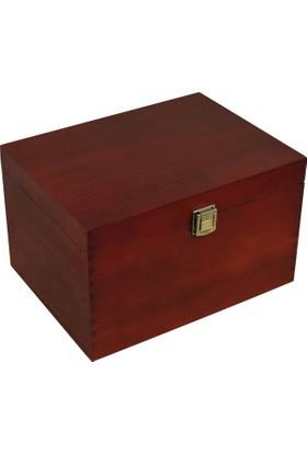 Promata Dekoratif Ahşap Kutu, Dikdörtgen Kapaklı Çam Malzeme Koyu Kahverengi Hediyelik Kutusu