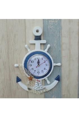 Aqua Vega Denizci Paça ve Gemici Dümeni Şeklinde Duvar Saati
