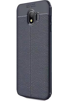 KNY Samsung Galaxy J4 2018 Kılıf Deri Desenli Lux Niss Silikon + Cam Ekran Koruyucu