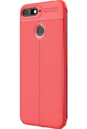 KNY Huawei Y7 2018 Kılıf Deri Desenli Lux Niss Silikon + Cam Ekran Koruyucu