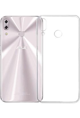 KNY Asus Zenfone 5 ZE620KL Kılıf Ultra İnce Şeffaf Silikon + Cam Ekran Koruyucu