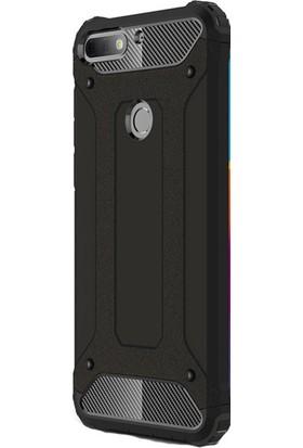 KNY Huawei Y7 2018 Kılıf Çift Katmanlı Armour Case + Cam Ekran Koruyucu