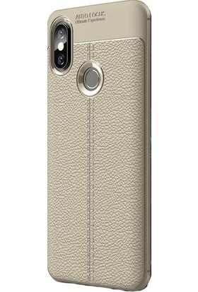 KNY Xiaomi Mi 8 Kılıf Deri Desenli Lux Niss Silikon + Cam Ekran Koruyucu