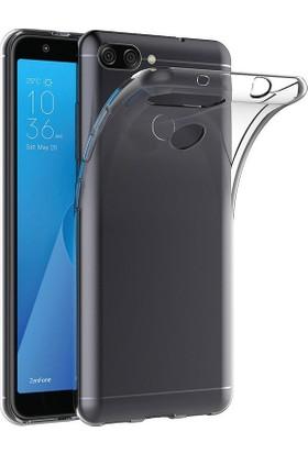 KNY Asus Zenfone Max Plus Kılıf Ultra İnce Şeffaf Silikon + Cam Ekran Koruyucu