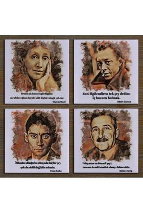 Atölye Hezarfen Şair Yazar Set:8 Seramik Bardak Altlığı (Virginia Woolf, Albert Camus, Franz Kafka, Stefan Zweig)