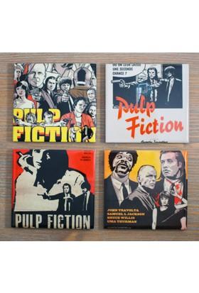 Atölye Hezarfen Pulp Fiction (Ucuz Roman) Seramik Bardak Altlığı