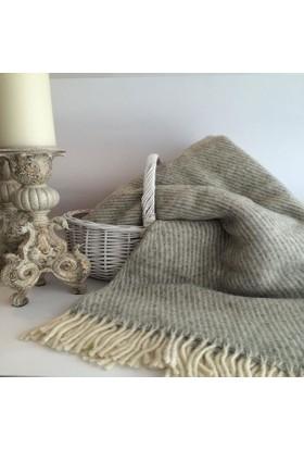 Mella Home Wool Battaniye-Açık Gri Çizgili