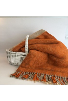 Mella Home Wool Battaniye-Krem-Turuncu