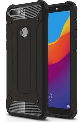 Ehr. Huawei Y7 2018 Çift Katmanlı Darbe Emici Crash Kılıf + Ekran Koruyucu Cam