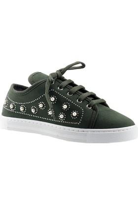 Bruno Yeşil Süet Günlük Bayan Babet Ayakkabı