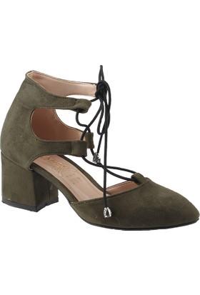 Ayakland 547-348 Yeşil Süet Lu Kadın Ayakkabı