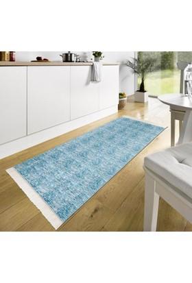 Mecra Tekstil Baskılı Mavi Saçaklı Kaymaz Jel Taban Halı 80 x 140 Cm