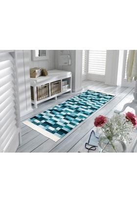 Mecra Tekstil Mavi Saçaklı Baskılı Modern Kaymaz Jel Taban Halı 80 x 140 cm