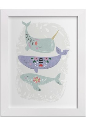 Ahşap Mahzeni Çerçeveli Tablo Desenli Balinalar